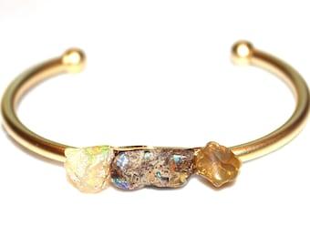 Gold Cuff Ethiopian Opal Cuff Raw Stone Cuff Opal Bracelet Raw Opal Bracelet Boho Bracelet Boho Cuff Stacking Bangle Modern Bracelet