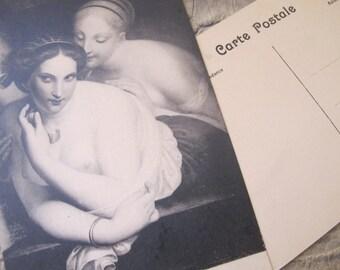 """Musee Wiertz Bruxelles """"Antoine Wiertz"""" Postcard Images. Antique Age. La Confidence-The Secret & Le Bouton de Rose-The Rosebud 2 Paper Cards"""