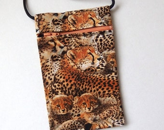 Pouch Zip Bag CHEETAH Fabric - great for walkers, markets, travel. Cell Phone Pouch, Small fabric Purse. wild cat coin pouch