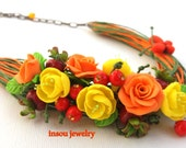 Statement Necklace, Flower Necklace, Spring Jewelry, Wedding Jewelry, Orange Green, Handmade Necklace, Floral Fashion, Gift For Her, Roses