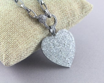 Pave Diamond Pendant, Pave Heart  Pendant, Diamond Heart Charm, Pave Art-Deco, Pave Heart, Pave Connector, Oxidized Silver. (DCH/CR330)