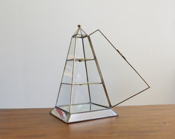 """Vintage 13"""" Glass Obelisk Pyramid Curio Tiered Display Box with Mirrors"""