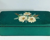 AMAZING Antique Tin Box, distressed, old, vintage with handprinted flowers
