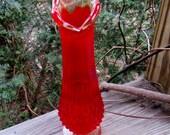 early fenton tall bud vase amberina and ruby hobnail