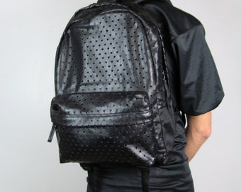 Black Vans Deana Lasercut Faux Leather Infinite Hearts Backpack Satchel