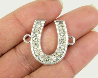 50% OFF SALE Horseshoe Connector, Horseshoe Charm, Good Luck Rhinestone Connector in Silver Lucky Charm Bracelet Connector, RC226