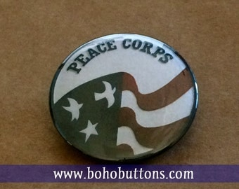 Peace Corps USA Flag 1.25'' Pinback Button Badge or Fridge Magnet - America, United States Pin, Peace Corps Logo, Red White and blue, Travel