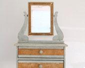Vintage Wooden Doll Dresser Jewelry Box Mirror Shabby Chic Blue Swivel Mirror Drawers Empire