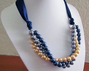 Twisted Pearl Necklace, Triple Three Strand Bridesmaid Necklace with navy blue ribbon, Gold, Navy and Gray pearls with navy ribbon