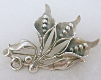 Vintage Art Deco Sterling Silver Lily Of The Valley Brooch Pin
