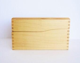 Vintage Wooden Index Card / Recipe Holder Box in Pine Wood with Metal Slide Holder