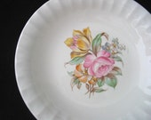 Knowles Coupe Soup Bowl with Colorful Floral Center and Fluted Rim Vintage 1940s
