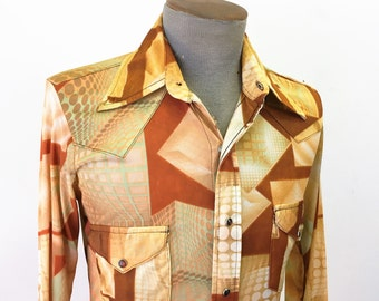 1970s Western Disco Shirt Men's Vintage SEARS Western Wear Pearl Snap Cowboy Style Long Sleeve Shirt with disco balls - Size SMALL