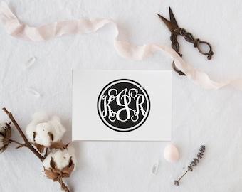 Monogram Stamp, Wood Mounted, Bridesmaid Gift, Wedding stamp, Housewarming Gift, Self Inking - FREE SHIPPING