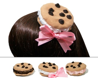 Chocolate Chip Cookie Ice Cream Sandwich Barrette - In Vanilla, Chocolate, Caramel, Mint, or Strawberry
