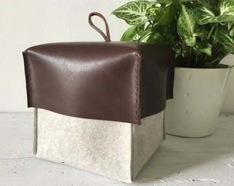 Felt Box with Leather Lid, Felt Storage Bin, Felt Organizer, Felt Container, Felt Storage Basket, Bathroom Storage, Living Decor.