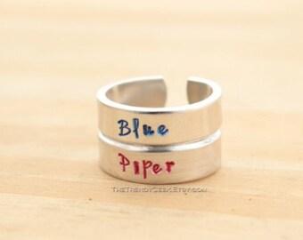 Vault Dweller Inspired Hand Stamped Aluminum Adjustable Rings
