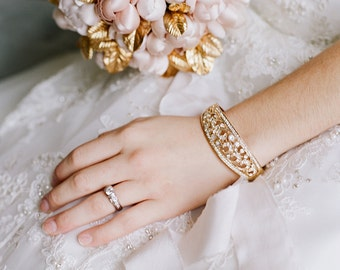 Bangle Bracelet, Gold Bridal Bracelet, Wedding Bracelet, Swarovski Crystal Bridal Jewelry, Wedding Jewelry, CLARA Bracelet