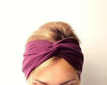 Burgundy twist headband, womens turban, Infinity headband, twisted headband twist hair wrap head wrap wine purple top knot adult turban