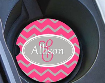 Preppy personalized car coaster, Pink and gray Chevron women's car cup coaster, Monogrammed gifts (9878)