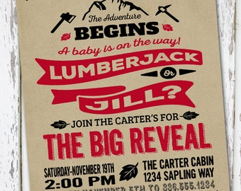 lumberjack gender reveal invite, lumberjack invite, gender reveal invitation, gender reveal invite, lumberjack baby shower