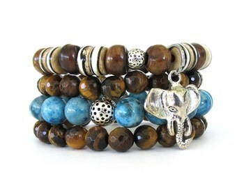 Women's Bracelet Stack with Agate, Tiger Eye and Bone Beads Highlighted by an Elephant Charm - Bohemian Bracelets - Women's Jewelry - WS0910
