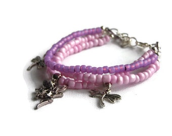 Pink and Lilac Fairy Bracelet, Triple Strand Bracelet, Stacking Bracelet, Beaded Bracelet, Fairy Bracelet, Fairy and Dragonfly Bracelet