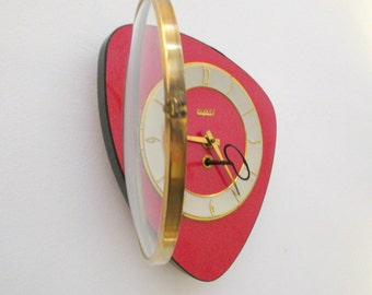 French 1950-60s Atomic Age BAYARD Bright RED Formica Wall Clock - Triangle or Boomerang Shape - Good Working Condition