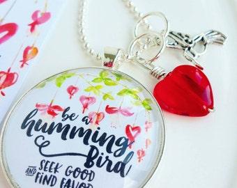 be a hummingbird proverbs 11:27 inspirational pendant necklace