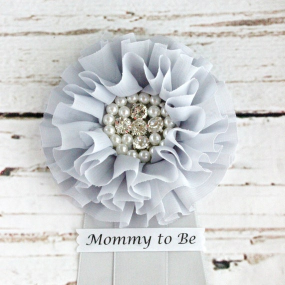 gray baby shower corsage mommy to be pin grandma to be clip badge
