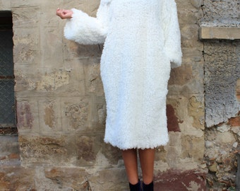White Dress/ Midi Dress with Sleeves/ Winter Dress/ Cute Dress/ Long sleeve dress/ Casual dress