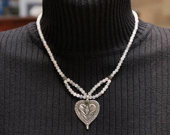 Rose Quartz and Sterling Pendant Necklace