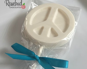 12 Chocolate Peace Sign Lollipop Favors Candy