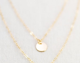 VALENTINES DAY SALE Aniani necklace - double layered 14k gold filled disc necklace, delicate gold necklace, double strand necklace, layering