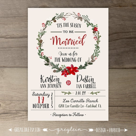 Winter Wedding Invitations Wreath Tis The Season To By