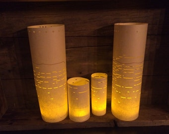 Piano Roll Luminaries, Music Decor, Luminaries, Music Wedding, Luminarias, Centerpiece, Lanterns, Paper Lanterns, Player Piano, Piano Rolls