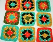 Vintage Handmade Crochet Coasters - Doilies - Set of 9 Variety of Retro Colors