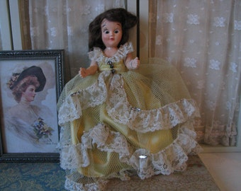 Antique 1930s Composition Celluloid Doll Collectible Doll Vintage Doll Antique Doll Antique Lace Doll Dress Vintage Rhinestones