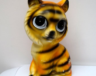 Vintage Big Eyes Tiger Money Box Coin Bank Figurine