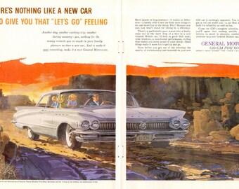 1960 Buick Electra Ad Valley of Goblins Utah White Car Auto Original Vintage Wall Decor