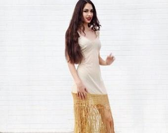 ivory fringe dress, cream slip dress, bohemian dress, hippie boho 70s disco dress silky maxi mini sleeveless
