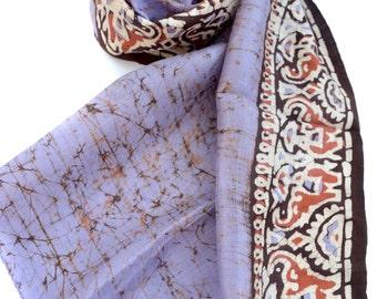 purple silk scarf, batik scarves, tribal scarf, long scarf, lost wax print, indian scarves vintage sari handmade scarf, gypsy hippie boho