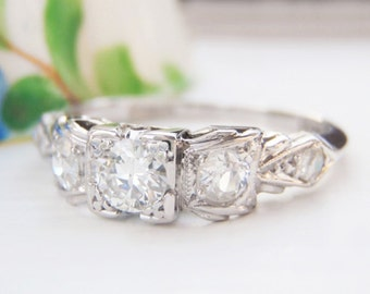 Sweet Art Deco Diamond Engagement Ring. Pretty Bow Styled Setting. Quality Solid Platinum. Plump Old European Diamonds. Vintage Ring Bliss!