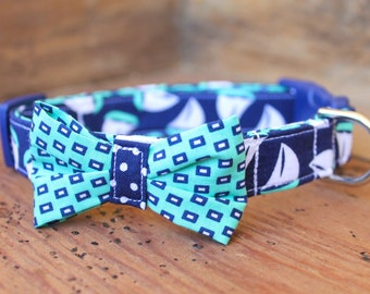 Bow Tie Dog Collar - Navy Sailboat Print with Turquoise/Navy Bow Tie
