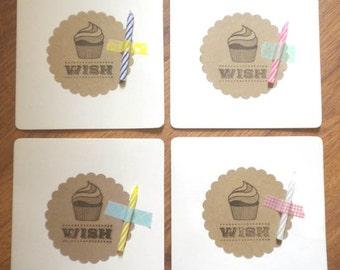 Cupcake birthday card - buy FOUR get ONE FREE