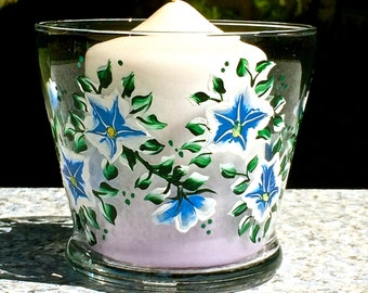 Hand Painted Blue and White Flowered Candle Holder, Teacher Gift, Christmas Gift, Housewarming Gift, Gifts For Her, Birthday Gift