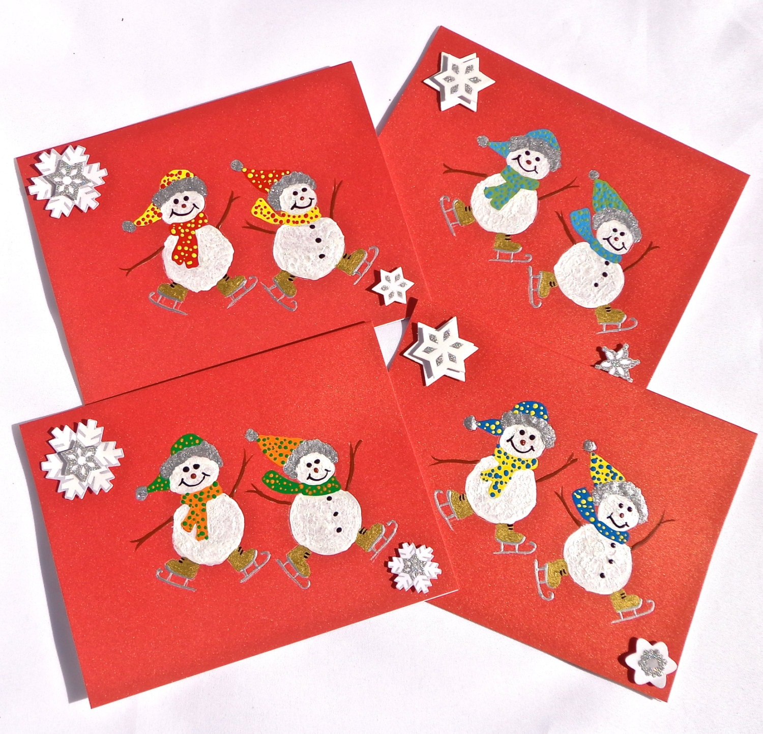 Hand painted christmas cards with skating by ipaintitpretty for Painted christmas cards