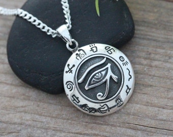 Sterling silver eye of horus, Silver Eye of Ra necklace, Silver Eye of Horus, Eye of horus Jewelry, Protection Jewelry, Protection Necklace