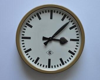 """14"""" diameter Vintage German Industrial wall clock from TN. 1960s. Beige Rim. Made in Germany. 1180"""