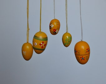 Yellow Vintage German Easter Egg Ornaments. Vintage German. Authentic. Original. Y-3